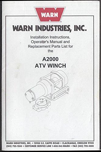 Warn Industries Installation & Operator Manual ATV Winch A2000 1972 A2000 Winch