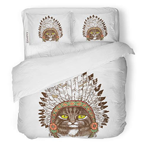 Semtomn Decor Duvet Cover Set Full/Queen Size Colorful Maine Coon Cat Portrait Native American Indian Chief 3 Piece Brushed Microfiber Fabric Print Bedding Set -