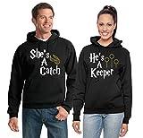 He's A Keeper/She's A Catch | Harry Potter Fan | Couples Hoodie Set Hooded Sweatshirts Men L Women S