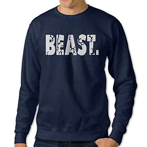 [U9 Men's Beast Letter Crew-Neck Sweater] (Grumpy Cat Costume Ideas)