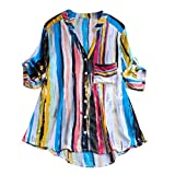 ANJUNIE Women's Colorful Striped Printing Blouse Outwear Button Down T Shirts Tunic Tops Cardigan(Blue,4XL)
