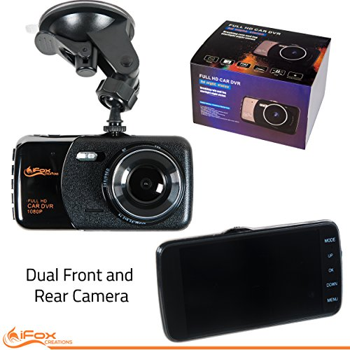 """iFox Creations Dual Car Dash Cam - Car DVR with Full HD 1080P 170 Degree Wide Angle Dashboard Camera with 4"""" Display Night Vision, Loop Recording and Motion Detection"""