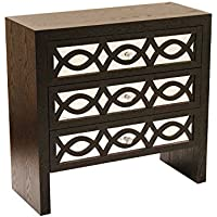 Heather Ann Creations Handcrafted Contemporary 3 Drawer Accent Storage Chest Console, 31.5 x 13 x 30, Black