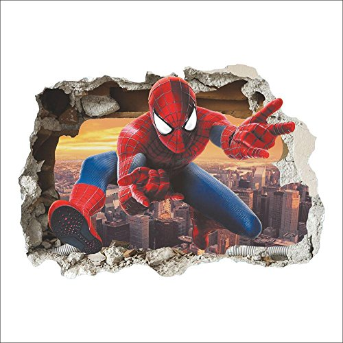 (SeedWorld Wall Stickers - 3D Popular Spiderman Cartoon Movie Home Decal Wall Sticker/adesivo de Parede for Kids Room Decor Child Gifts Wallpaper 1)