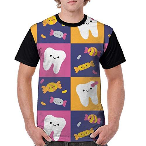 (Sea turtle Happy Teeth Checkerboard Royal Blue Orange Dark Pink Men's Short Sleeve Cotton Tall Sports Lightweight Large)