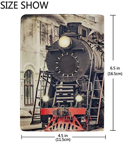 Old Steam Locomotive Old Train Blocking Print Passport Holder Cover Case Travel Luggage Passport Wallet Card Holder Made With Leather For Men Women Kids Family