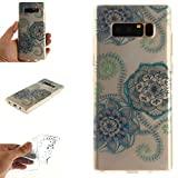 Galaxy Note8 Case, Note8 Cover, MerKuyom Durable [Clear Transparent] [Slim-Fit] Flexible Gel Crystal Soft TPU Case Skin Cover For Samsung Galaxy Note 8 Note8 , W/ Stylus (Flowers Petals Leaf)