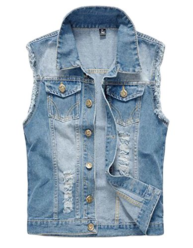 GRMO-Men Lapel Washed Denim Sleeveless Button Down Ripped Vests Jacket