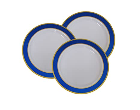 7u0026quot; Disposable Plastic Appetizer and Dessert Plates With Blue and Gold Trim - 40 Pack  sc 1 st  Amazon.com & Amazon.com: 7