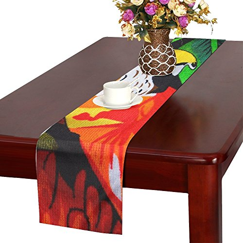 QYUESHANG Parrot Ara Red Bird Towel Bath Towel Colorful Table Runner, Kitchen Dining Table Runner 16 X 72 Inch For Dinner Parties, Events, Decor