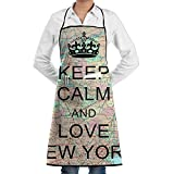 Kitchen Bib Apron Neck Waist Tie Center Kangaroo Pocket Love New York Waterproof