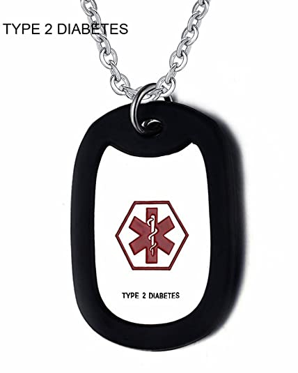 Amazon.com: CF Acero Inoxidable Medical Alert Diabético ID ...