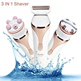 Multi-Function Ladies Electric Shaver,Ailuki Cordless Electric Razor with Facial Cleansing Spin Brush and 3D Roller Massager,Rchargeable Waterproof Bikini Trimmer for Ladies Wet and Dry Use