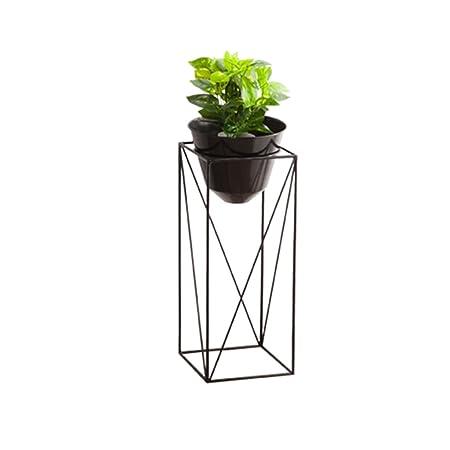 QFF Soporte de flor de hierro forjado, marco negro cuboide ...