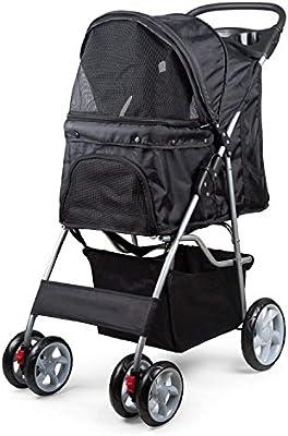 PestNll camine feliz con su carrito para mascotas, con Marco ligero de acero inoxidable, llantas grandes y con freno de seguridad (Gris)