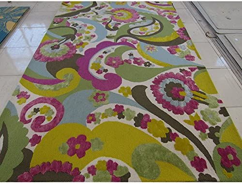 Safavieh Wilton Collection WIL349A Hand-Hooked Green and Fuchsia Wool Area Rug, 8 feet by 10 feet 8 x 10