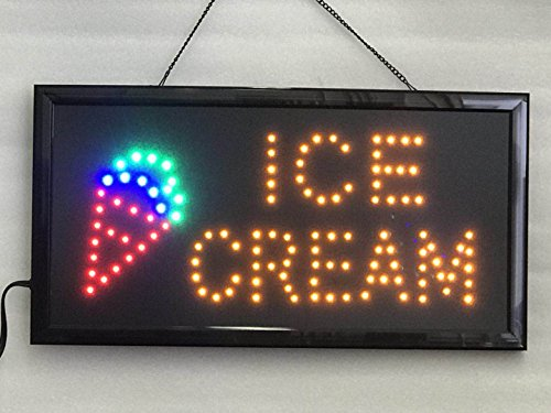 UPSUN Neon Sign OPEN,LED business open sign advertisement board Electric Display Sign, Two Modes Flashing & Steady light, for business, walls, window, shop, bar, hotel(Ice Cream)