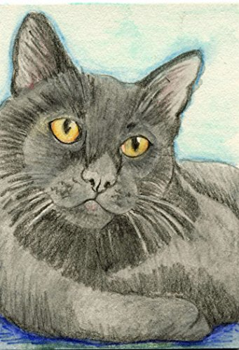 ACEO ATC Black Kitty Cat Pet Watercolor Pencil Art Original -Free Shipping-Carla Smale