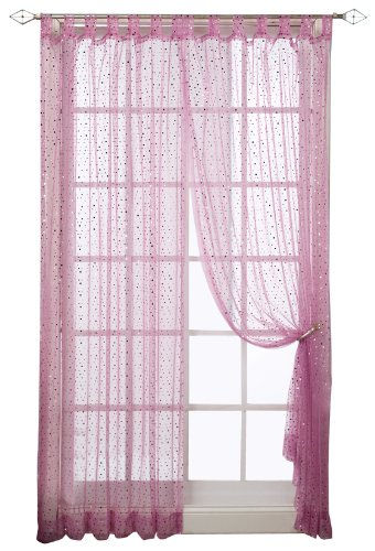 Pink Tab Top Curtains - 1888 Mills Groovy 50-inch-by-84-inch Single Tab-Top Panel Sheer with Sequins, Fushia
