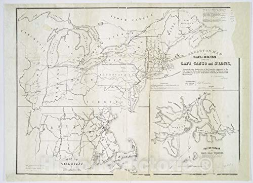Historic 1851 Map | Skeleton map of rail-roads between Cape Canso and St. Louis | Northeastern States | United StatesMaps of North America. | Vintage Wall Art | 44in x 32in