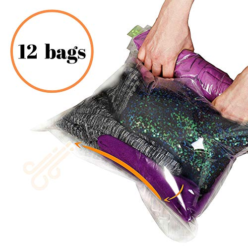 (12 Travel Storage Bags for Clothes - Compression Bags for Travel - No Vacuum or Pump Sacks-Save Space in your Luggage Accessories)