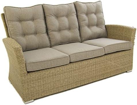 Sofá para jardín, 3 plazas, Color Natural, Aluminio y rattán ...