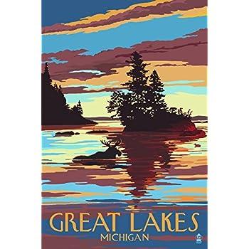 Great Lakes, Michigan - Moose Swimming at Sunset (9x12 Art Print, Wall Decor Travel Poster)