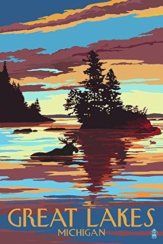 Great Lakes, Michigan - Moose Swimming at Sunset (12x18 Art Print, Wall Decor Travel Poster) (Michigan Wall Decor)
