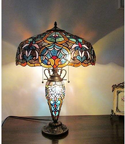 "Chloe Lighting CH33473BV18-DT3 Sadie Tiffany-Style Victorian 3-Light Double Lit Table Lamp, 18"" x 18"" x 25.4"""