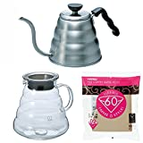 Hario V60 Series 800 ml Glass Kettle, 1200 ml Metal Kettle & 100 Paper Filters Sold Together