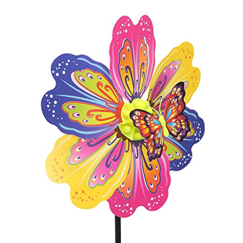 Hacloser Colorful Windmill Kids Toys, Flower Butterflies Animal Pattern Wind Spinner Pinwheels for Home Garden Yard Decoration, Random Color (03#) -