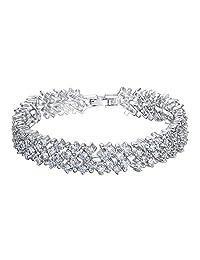 Ever Faith Bridal Silver-Tone Round Full Clear CZ Austrian Crystal Tennis Bracelet N02211-1