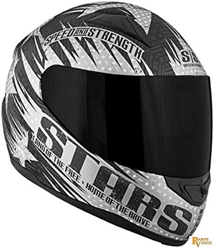 Speed and Strength Stars and Stripes Full Face SS1100 Motorcycle Helmet (Matte Black, Large)