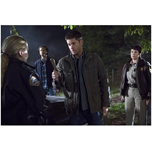 Supernatural (TV Series 2005 - ) 8 inch by 10 inch PHOTOGRAPH Jensen Ackles from Thighs Up Offering Large Knife to Briana Buckmaster kn