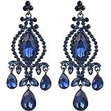 EVER FAITH Black-Tone Crystal Vintage Style Teardrop Dangle Chandelier Earrings Sapphire-color