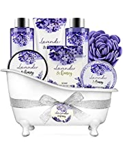 Bath and Body Gift Set - Body & Earth 8 Pcs Relaxing Gift Baskets for Women, Lavender & Honey Scent Spa Kit, Bubble Bath, Shower Gel, Shampoo Bar and More, Birthday Gifts for Her, Bath Set for Women