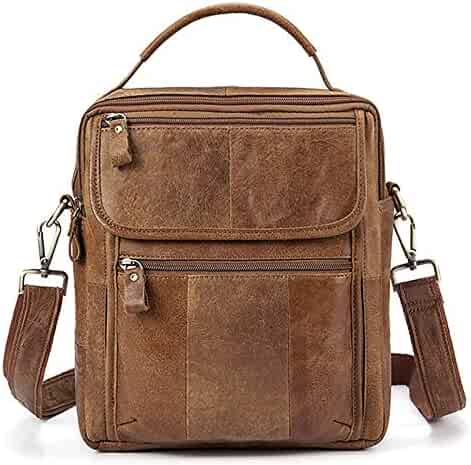 Color : Brown YYYTS Mens Leather Briefcase Business Multi-Function Shoulder Diagonal Package