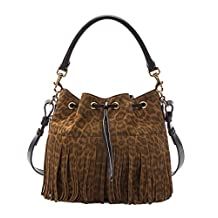 SAINT LAURENT 'YSL' Emmanuelle Fringed Sac Bucket Bag Leopard Print Suede Leather Shoulder Handbag Purse 340240