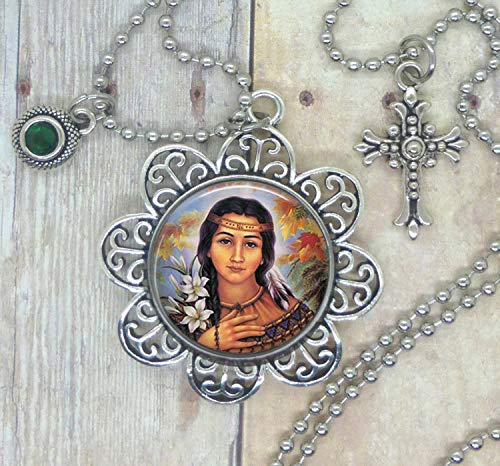 Saint Kateri Tekakwitha, known for Help with Skin Diseases/Injuries, Image Necklace with a Holy Cross & Healing Green Swarovski Crystal, Choose a Necklace, Backpack Clip, Keychain, Purse Clip