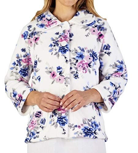 Slenderella Ladies Luxury Cream Blue & Pink Floral Soft Thick Fleece Button Up Bed Jacket (Floral Cream Pink)