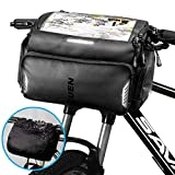 TEUEN Bike Handlebar Bag Large Waterproof Bicycle Front Bag with Phone/GPS Pocket, Electric Scooter Cycling Handlebar Bags Touchscreen Bike Front Frame Top Tube Storage Bag with Rain Cover (Black)