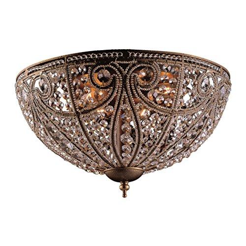 Elk Elizabethan 6-Light Flush-Mount Ceiling Fixture, Dark Bronze Dark Bronze Elizabethan Crystal