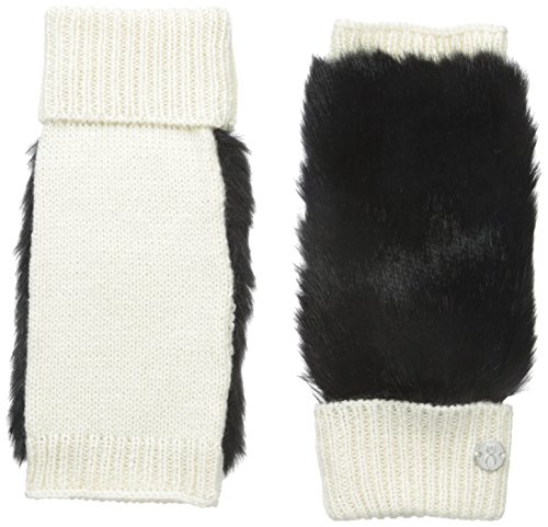 Spyder Women's Cuffed Faux Fur Fingerless Glove, Ivory/Black, One ()