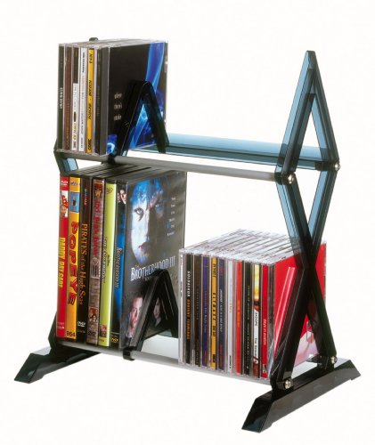 Atlantic Mitsu 2-Tier Media Rack - 130 CD or 90 DVD/BluRay/Games in a Space Saving, Customizable Clear Smoke Finish, ()
