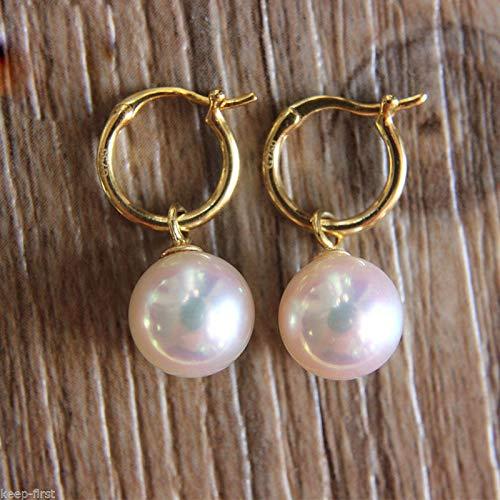 FidgetGear Rare Huge 14mm White South Sea Shell Pearl 14K GP Dangle Earrings -
