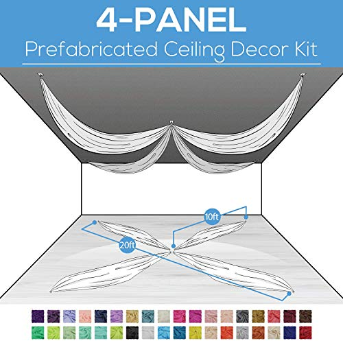 (Event Decor Direct 4 Panel Prefabricated Ceiling Drape Kit- Fire Retardant Sheer Voile - 20FT Diameter - Caramel)