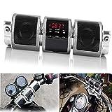 Waterproof Bluetooth Wireless Motorcycle Scooter Bike ATV Jet Ski Stereo Sound System Radio Handlebar Mount FM Radio MP3 Player (Silver)