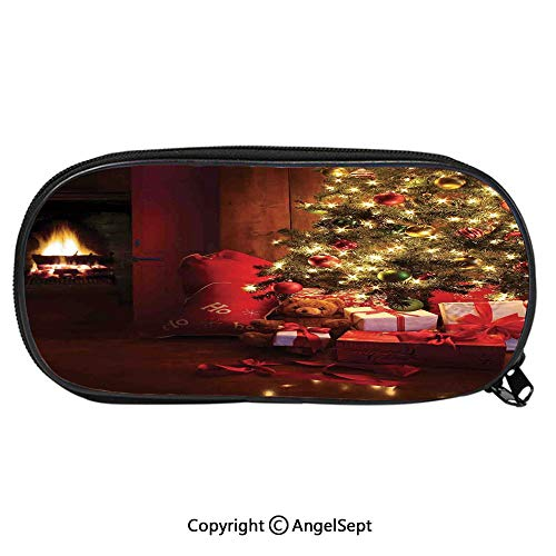 Pencil CaseXmas Scene with Decorated Luminous Tree and Gifts by The Fireplace Artful Image for Pen Holder with Zipper Children Back to School Big Capacity Pencil Pouch Student Sturdy Polyester Statio