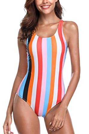 9944ba21c9 CharmLeaks Womens One Piece Swimsuit Orange Blue Striped Rainbow Bathing  Suit M