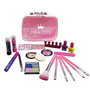 Best Epic Trends 51tb%2B6KDQbL._SS300_ SunbriloStore 21Pcs Makeup for Girls Kids Makeup Kit Girl Real Pretend Play Makeup Toy for Toddler Washable Makeup Set…